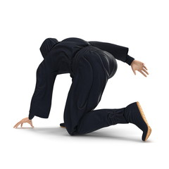 Ninja Taking Fighting Pose On White Background. 3D Illustration, isolated