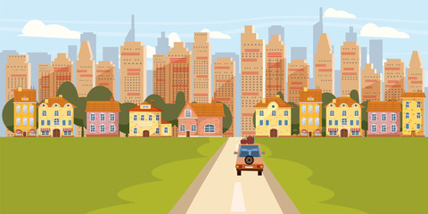 Cityscape Background Modern City Panorama With Road Suburban Downtown Over Skyscrapers Skyline Silhouette Cartoon Vector Illustration