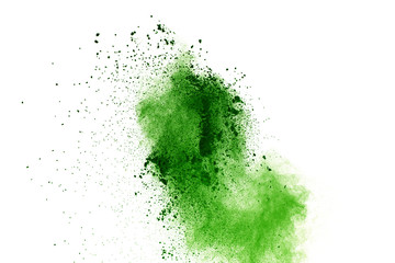 abstract powder splatted background,Freeze motion of green powder exploding/throwing green dust