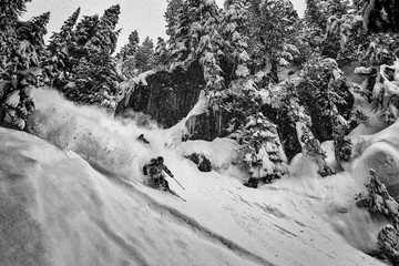 Cody Townsend and Elyse Saugstad skiing in the Mt. Baker backcountry
