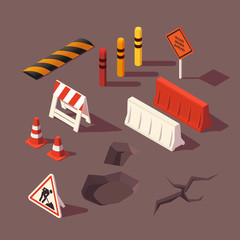 Isometric set of road repair for infographics. Road work ahead sign. Illustration dor 3D sity map.