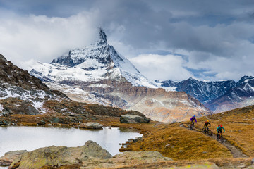 Mountain bike riding in Zermatt, Switzerland
