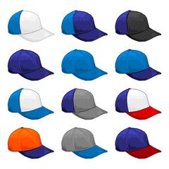 Blue cap, Vector Variety of color combinations cap template