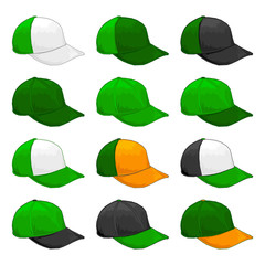 Green cap, Vector Variety of color combinations cap template