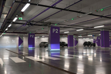 Underground parking of cars. Fototapete
