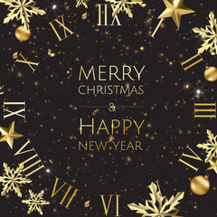 New year golden background with christmas balls, stars and vintage clock.