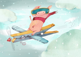 The happy little pig flies on the self-made plane