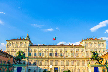 View on the Palazzo Madam Museum in Torino, Italy on a sunny day.