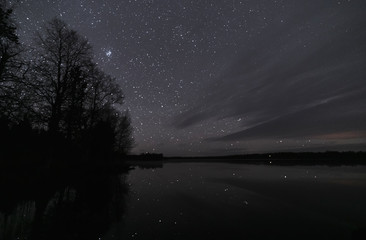 A lake underneath the stars at night