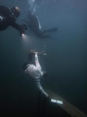 Skateboarding underwater