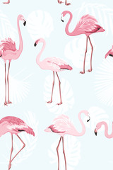 Poster Flamingo Pink flamingo beautiful exotic birds. Jungle palm tree monstera leaves. Tropical seamless vector pattern. Light blue background. White leaves outline. Trendy fashion illustration.