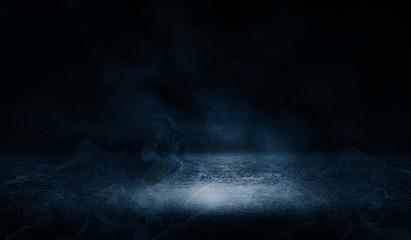 Background of empty street at night, neon light, asphalt, concrete, smoke, smog
