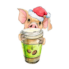 Pig with a cup of coffee and Santa Claus New Year's cap. Christmas illustration symbol 2019. isolated