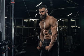 Young handsome male athlete bodybuilder doing workout in modern gym. training tricepts. Concept - strength, beauty, power, sports nutrition, diet, styroydy, health.