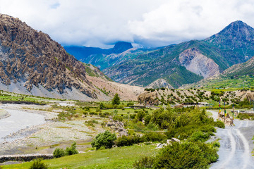 Nature view on the road to Manang village in Annapurna Conservation Area, Nepal