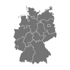 Administrative map of Germany with regions. illustration isolated on white background