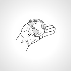 Hands holding the Earth. Palm hold the globe. Environment concept. Hand drawn sketch vector illustration