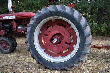 Autumn Scenes - Vintage tractor large wheels