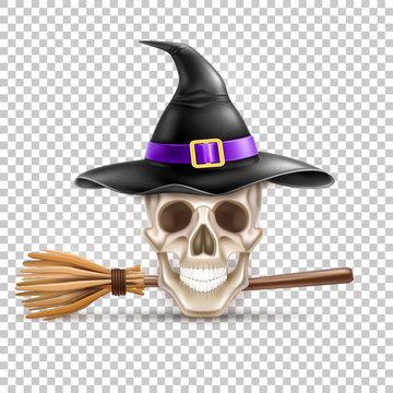 Vector happy halloween elements witch hat, broom