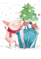 Happy pig and Christmas tree