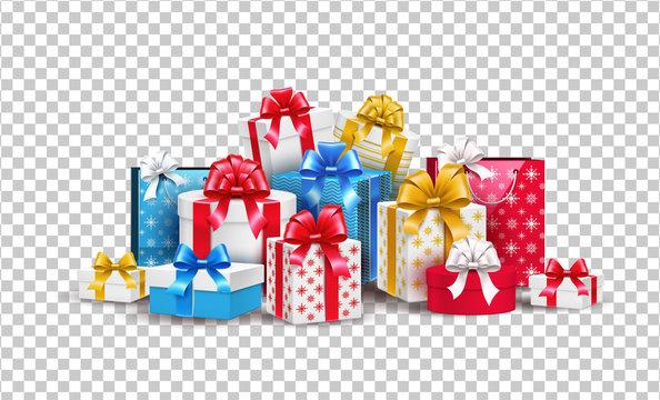 Vector christmas new year holiday present box gift