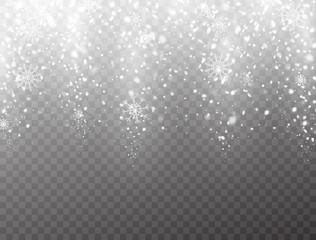 Snow and snowflakes falling on transparent background. Bright magic Christmas design. Winter backdrop with realistic snow. Frost storm, snowfall effect. Vector illustration