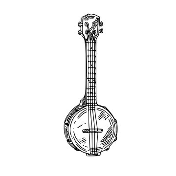 Banjo. Sketch. Engraving style. Vector illustration.
