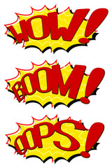 Set Comic Text Speeches. Icons Lettering of Wow, Boom and Oops. Poster for Print in a Flat Style. 3D Illustration