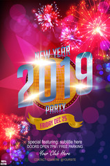 Christmas Party Poster. Happy 2019 New Year Flyer. Happy 2019 New Year Flyer, Greeting Card, Invitation, Menu Design Template In Colorful Fireworks Theme with banner and bokeh. Vector EPS 10.