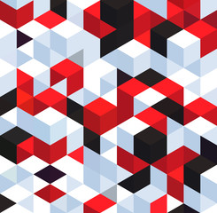 Abstract background with color cubes and grid