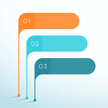 3 Step Vector Banner Shapes 3d Infographic Template