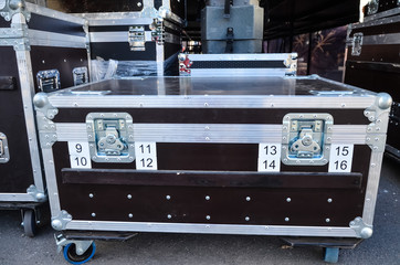 Concert containers. Boxes for equipment.road case or flight case with reinforced metal corners and wheels.