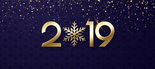 Purple shiny Happy New Year 2019 banner with gold snowflake.