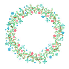 Fancy Christmas wreath with decorative balls, pine tree branches and cones. watercolor hand drawn illustration.