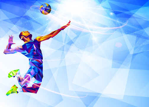 Illustration of abstract volleyball player silhouette in triangle. volleyball player, sport