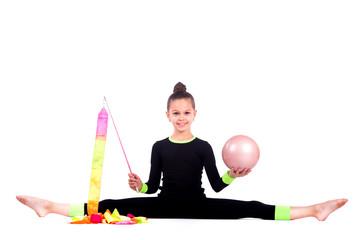Poster de jardin Gymnastique Teenager girl doing rhythmic gymnastics exercises on white background