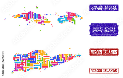 Mosaic tetris style map of American Virgin Islands and textured ...