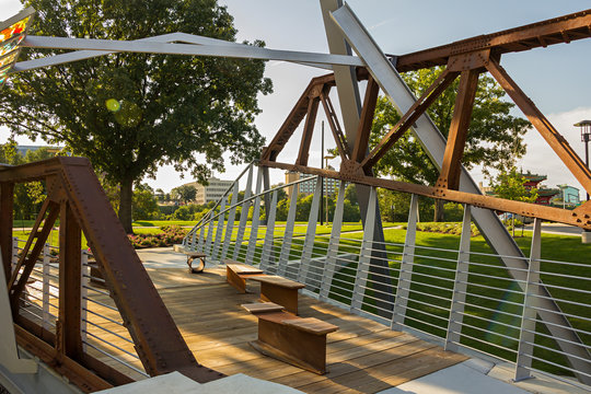 Recreation Area made of old rails near the Chinese garden and walking trail along the Des Moines river, downtown , Des Moines, Iowa, USA