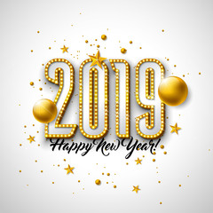 2019 Happy New Year illustration with 3d typography lettering, and Christmas ball on white background. Holiday design with shiny bright lights for flyer, greeting card, banner, celebration poster
