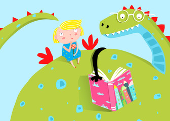 Fairy tale dragon reading a book to a girl child cartoon.