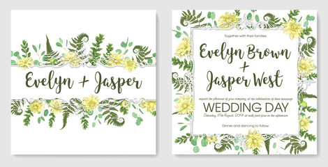 set for wedding invitation, greeting card, save date. Vintage frame green fern leaf, boxwood and eucalyptus, flowers of yellow dahlia on white background