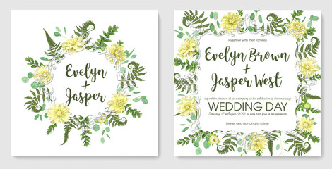 Beautiful delicate vector wedding invitation set, greeting card. Frame of green fern, boxwood and eucalyptus, flowers of yellow dahlia