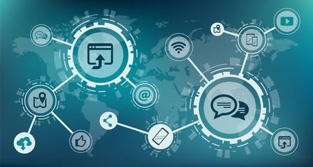 mobile communication / social media design - vector illustration