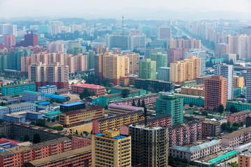 North Korea, Pyongyang - Panoramic shooting of the central part of North Korea's capital city Pyongyang