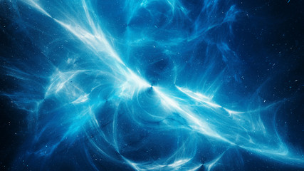 Blue glowing high energy plasma field in space