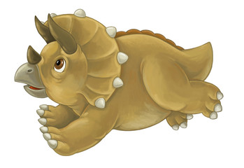 cartoon happy and funny dinosaur looking up and running - triceratops