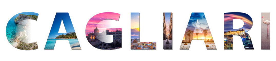 """Cagliari, collage of my best images that represent the city, applied to the writing """"CAGLIARI"""" on a white background."""
