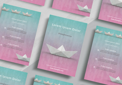 Flyer Layout with Paper Boat