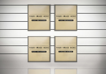 Four Photo Frames Mockup