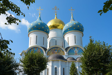 Sergiev Posad town, Holy Trinity-St. Sergius Lavra. Dome of the Cathedral of the assumption of the blessed virgin.